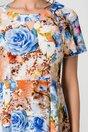 Rochie Adriela caramizie cu flori albastre si fundita in zona decolteului