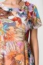 Rochie Adriela cu flori orange si fundita in zona decolteului