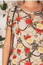 Rochie Adriela gri cu imprimeu floral si fundita aplicata in zona decolteului
