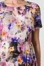 Rochie Adriela ivory cu flori violet si fundita in zona decolteului