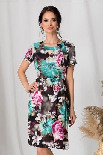 Rochie Adriela neagra cu flori turcoaz si fundita in zona decolteului