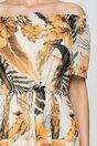 Rochie Adriena bej cu imprimeu floral si snur in talie