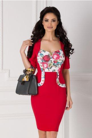 Rochie Adrienne rosie cu imprimeu floral traditional