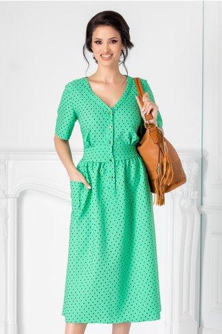Rochie Agness verde cu buline negre