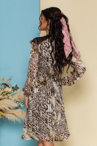 Rochie Aiana bej cu animal print si dantala delicata