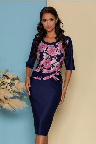 Rochie Aiana midi bleumarin cu imprimeu floral la bust