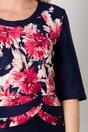 Rochie Aiana satinata bleumarin cu imprimeu floral la bust