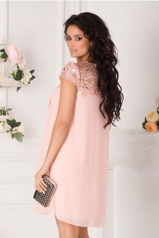 Rochie Aida de ocazie roz somon cu pliuri si broderie cu paiete