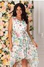 Rochie alba Addison cu imprimeu floral in nuante pastelate
