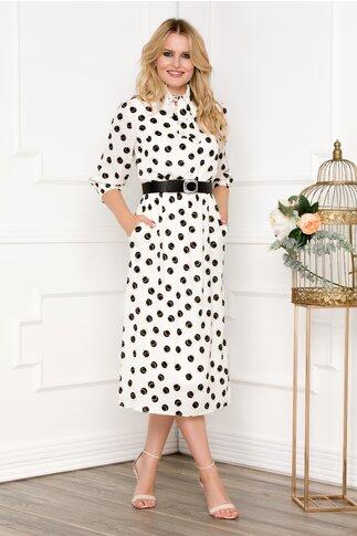 Rochie alba cu buline cu guler elastic