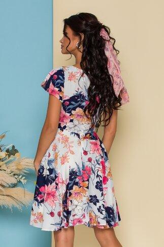 Rochie alba cu imprimeu floral bleumarin si roz