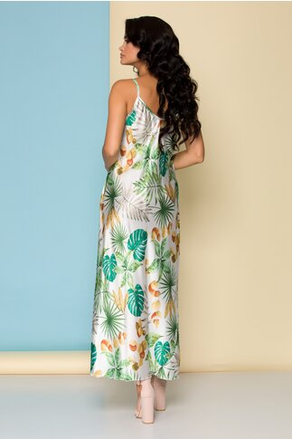 Rochie alba cu imprimeu floral si bretele subtiri