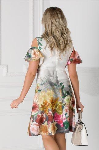 Rochie alba cu imprimeu floral si maneci decupate