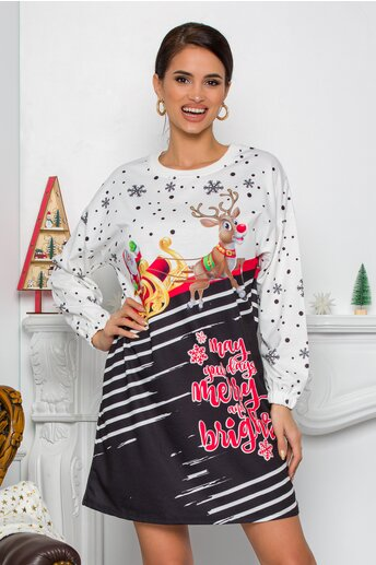 Rochie alba Merry cu imprimeu de iarna