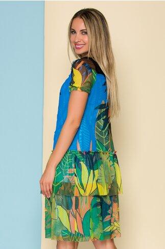 Rochie albastra din tull cu imprimeu floral si volane la baza
