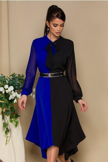 Rochie albastru cu negru si curea in talie