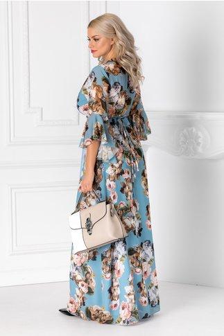 Rochie Alesia lunga bleu cu imprimeu floral