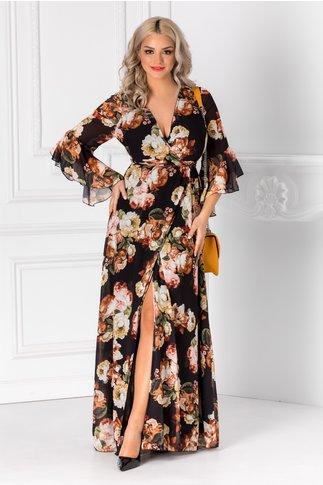 Rochie Alesia lunga neagra cu imprimeu floral