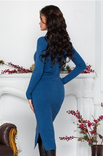 Rochie Alessa albastra midi din tricot