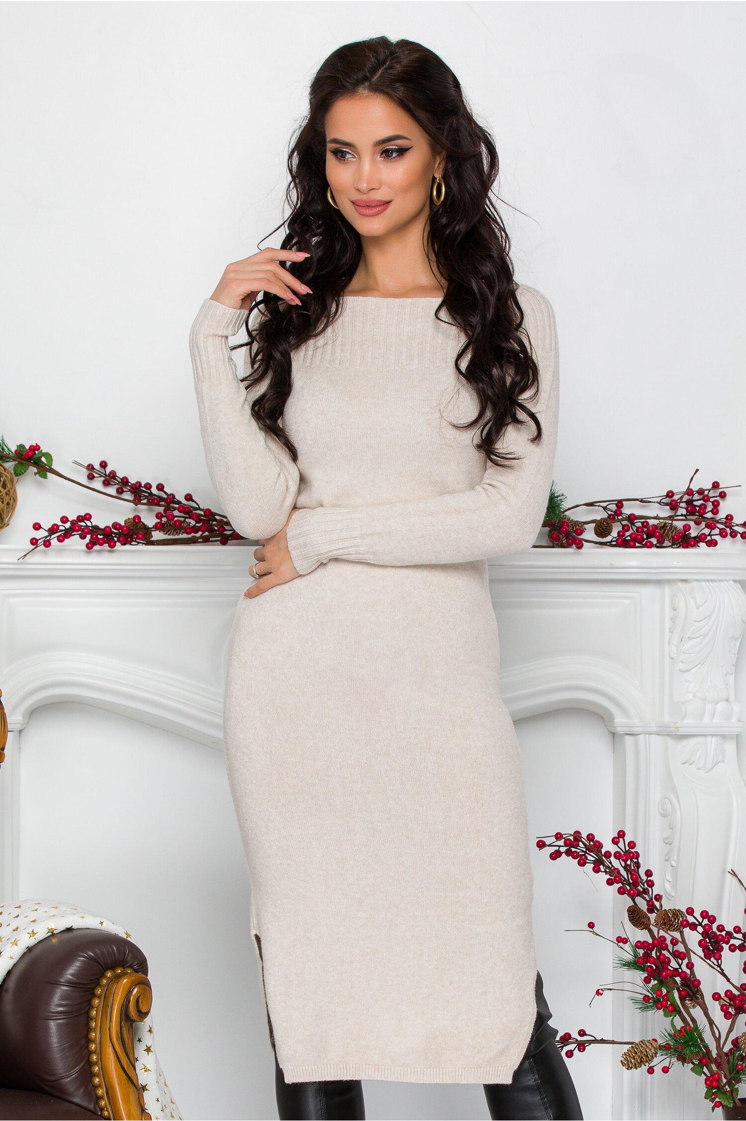 Rochie Alessa ivory midi din tricot