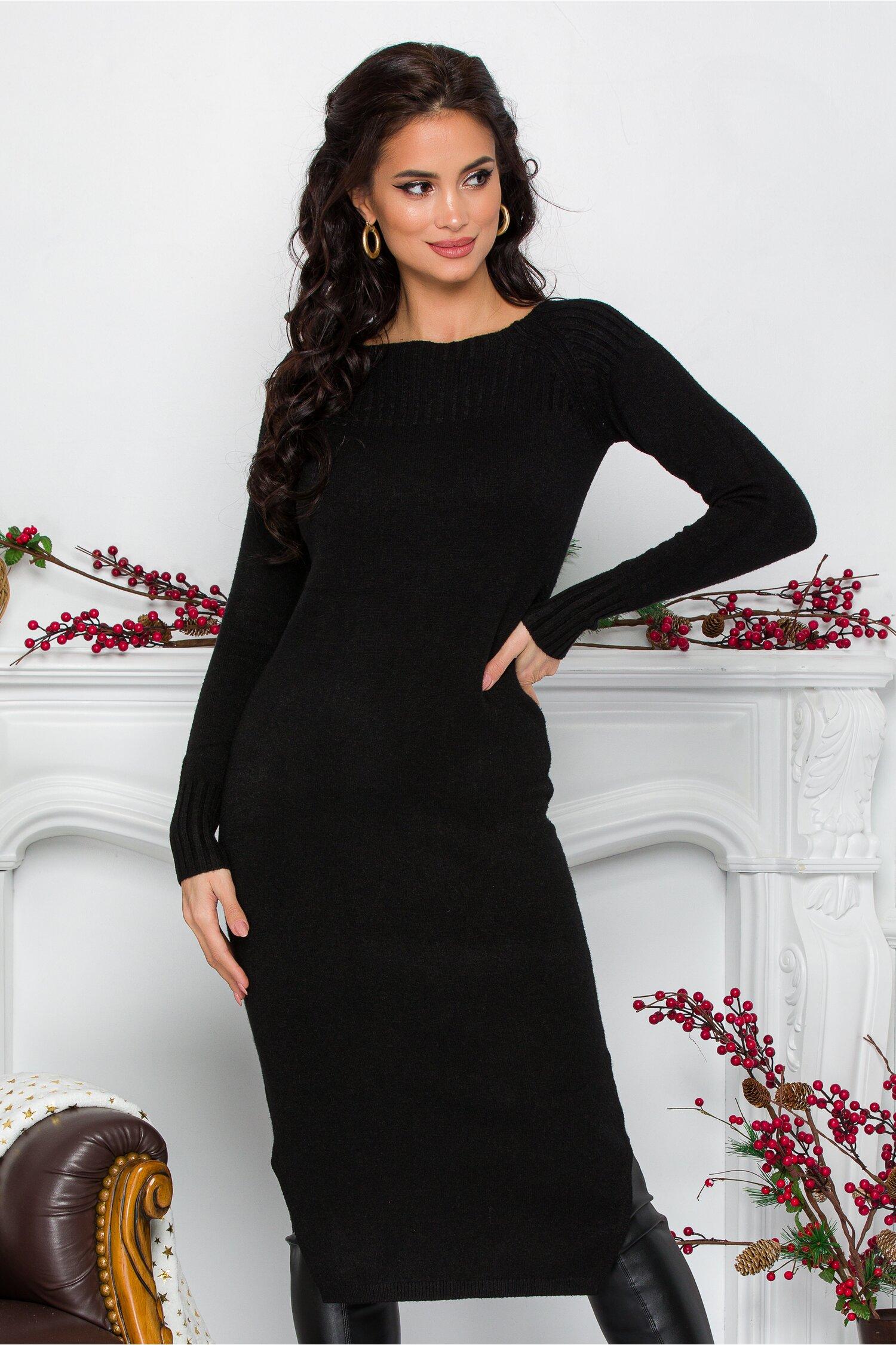 Rochie Alessa neagra midi din tricot