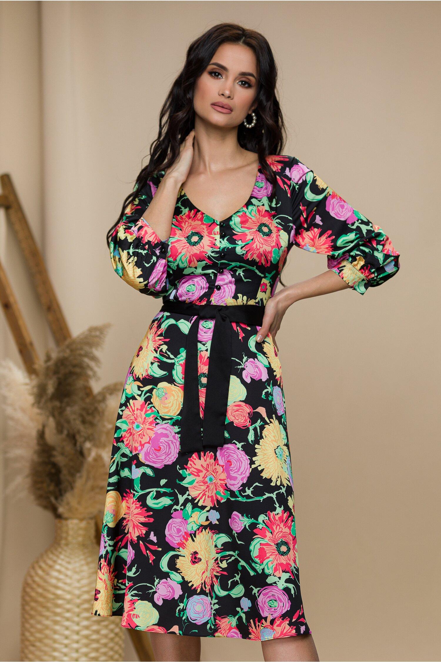 Rochie Alessandra negara cu imprimeuri florale colorate