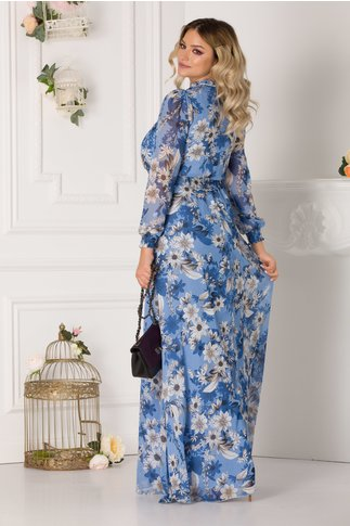 Rochie Alessandra vaporoasa albastra cu imprimeuri florale