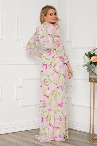 Rochie Alessandra vaporoasa lila cu imprimeuri florale
