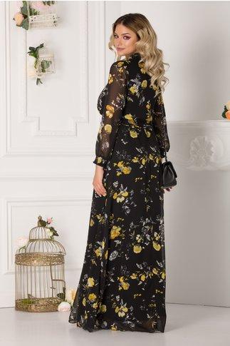 Rochie Alessandra vaporoasa neagra cu imprimeuri florale