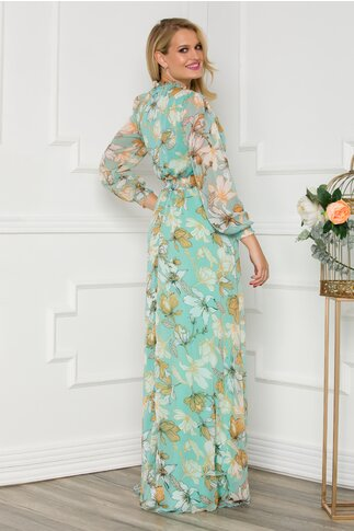 Rochie Alessandra vaporoasa verde mint cu imprimeuri florale
