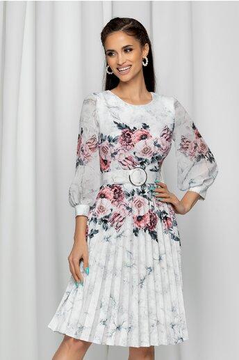 Rochie Alexa alba cu imprimeu floral si pliuri