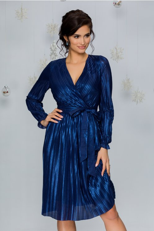 Rochie Alexa albastra din lurex plisat