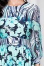 Rochie Alexa bleumarin cu flori turcoaz si pliuri