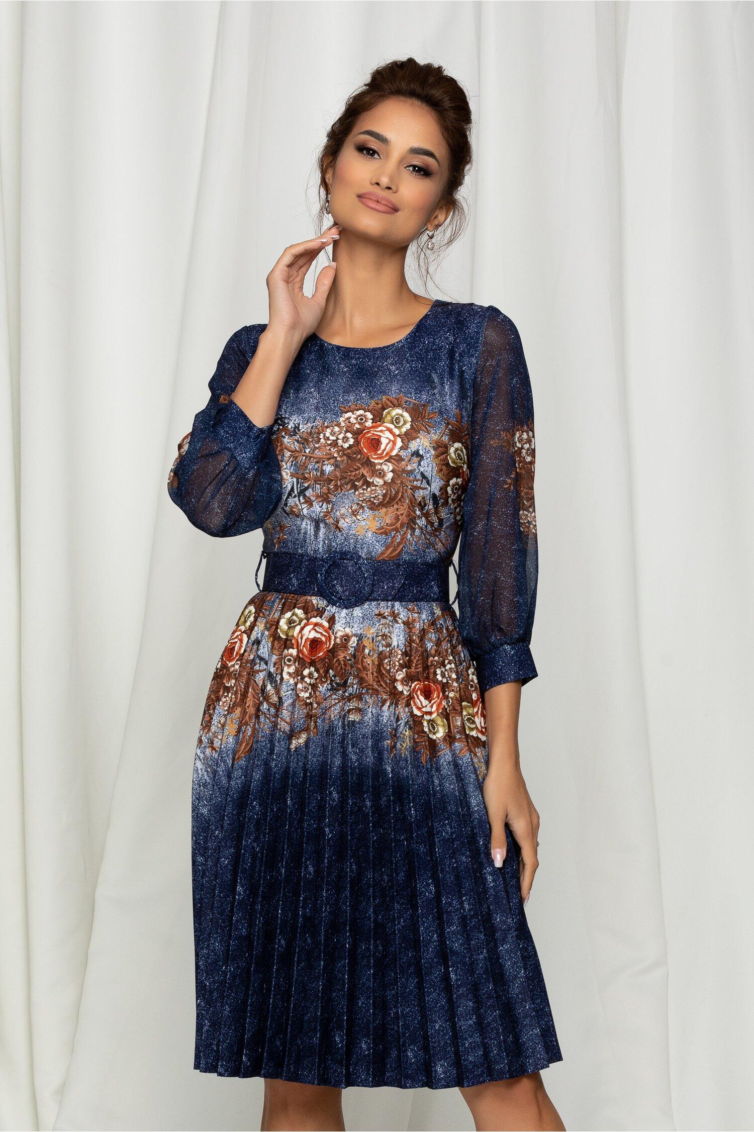 Rochie Alexa bleumarin cu imprimeuri florale maro