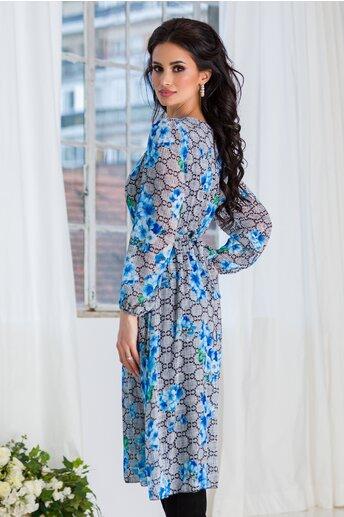 Rochie Alexa cu imprimeuri si flori albastre