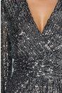 Rochie Alexa din paiete argintii cu panglica maxi in talie