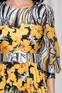 Rochie Alexa gri cu flori galbene si pliuri