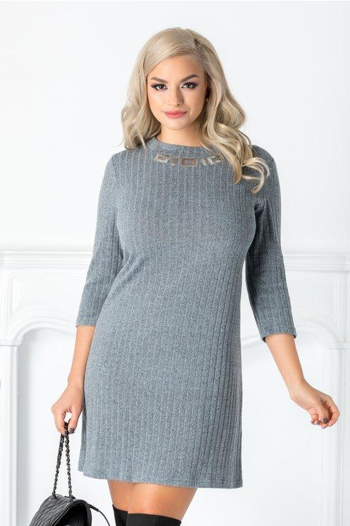 Rochie Alexa gri din tricot cu detalii argintii