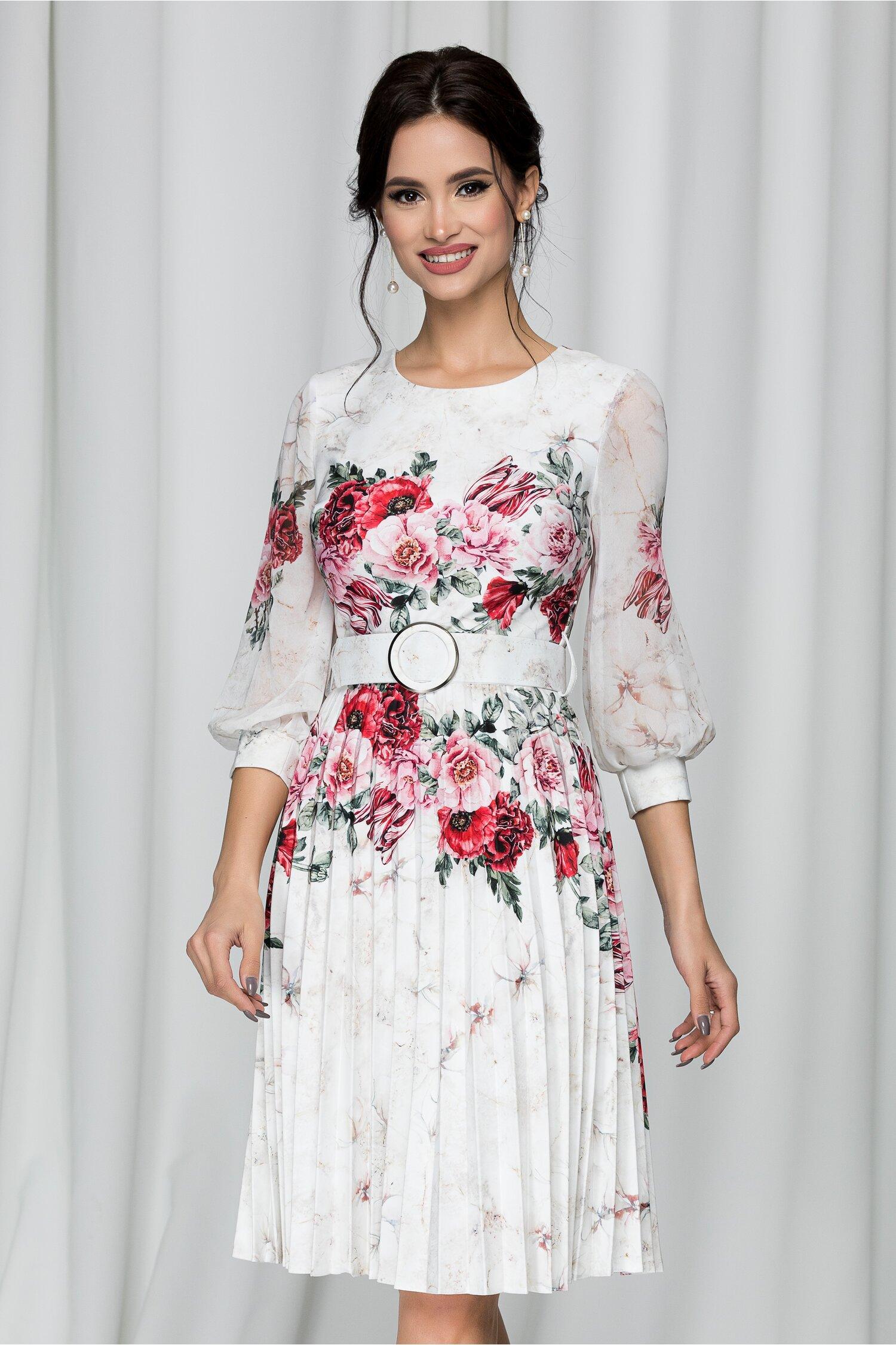 Rochie Alexa ivory cu flori si pliuri