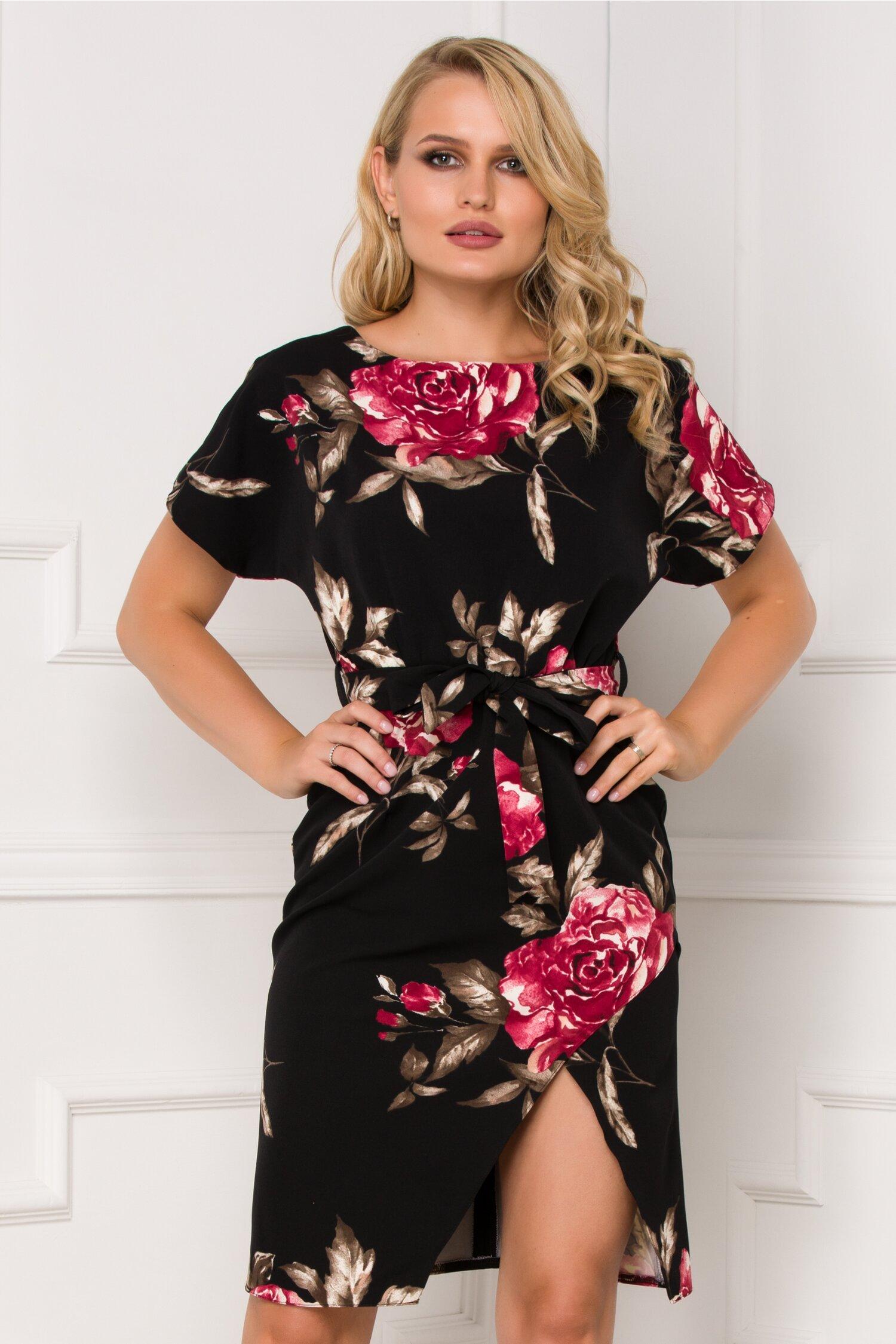 Rochie Alexa neagra cu trandafiri rosii