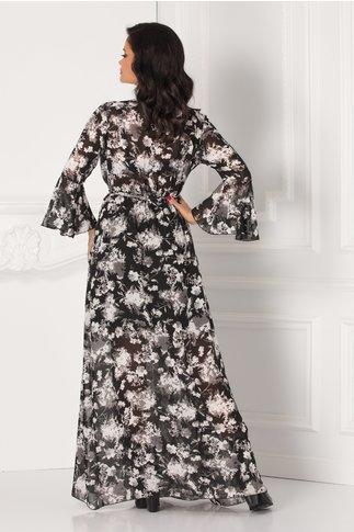 Rochie Alexandra lunga vaporoasa cu imprimeuri florale gri