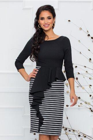 Rochie Alexandra neagra cu peplum in talie si fusta imprimata