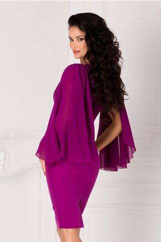 Rochie Alexandra violet cu accesoriu in talie si panglica pe umeri