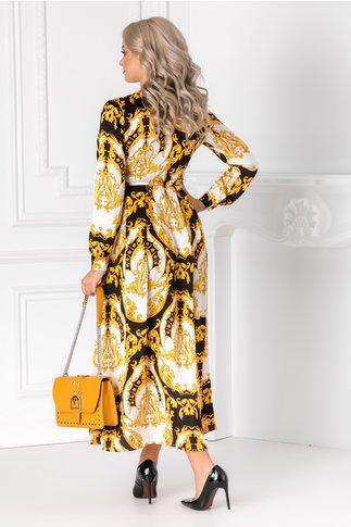 Rochie Alexia alba cu imprimeu negru-galben