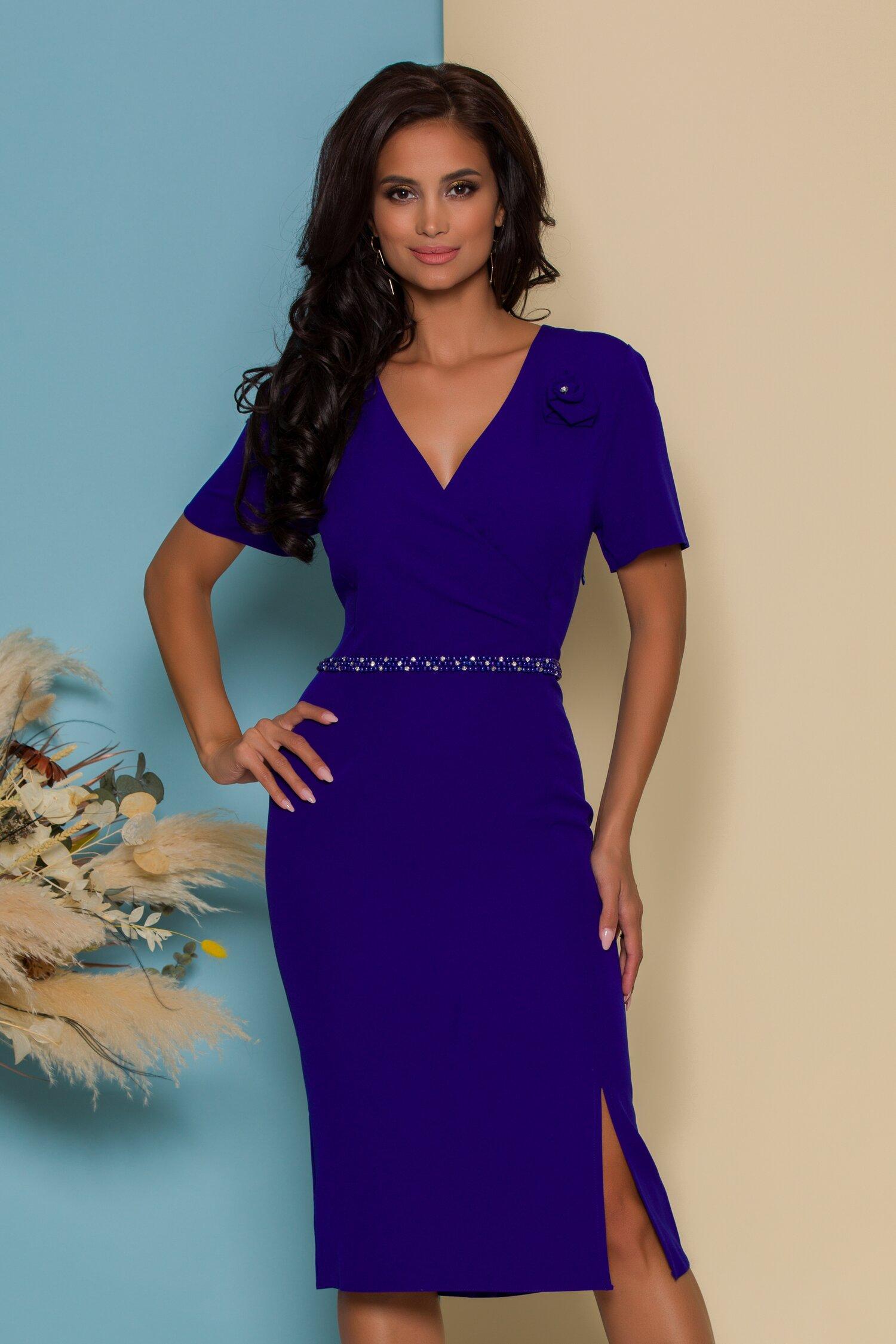 Rochie Alexia albastra cu aplicatie din margele in talie