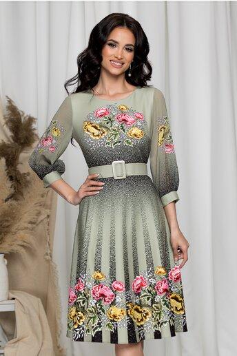 Rochie Alexia kaki cu flori si picatele