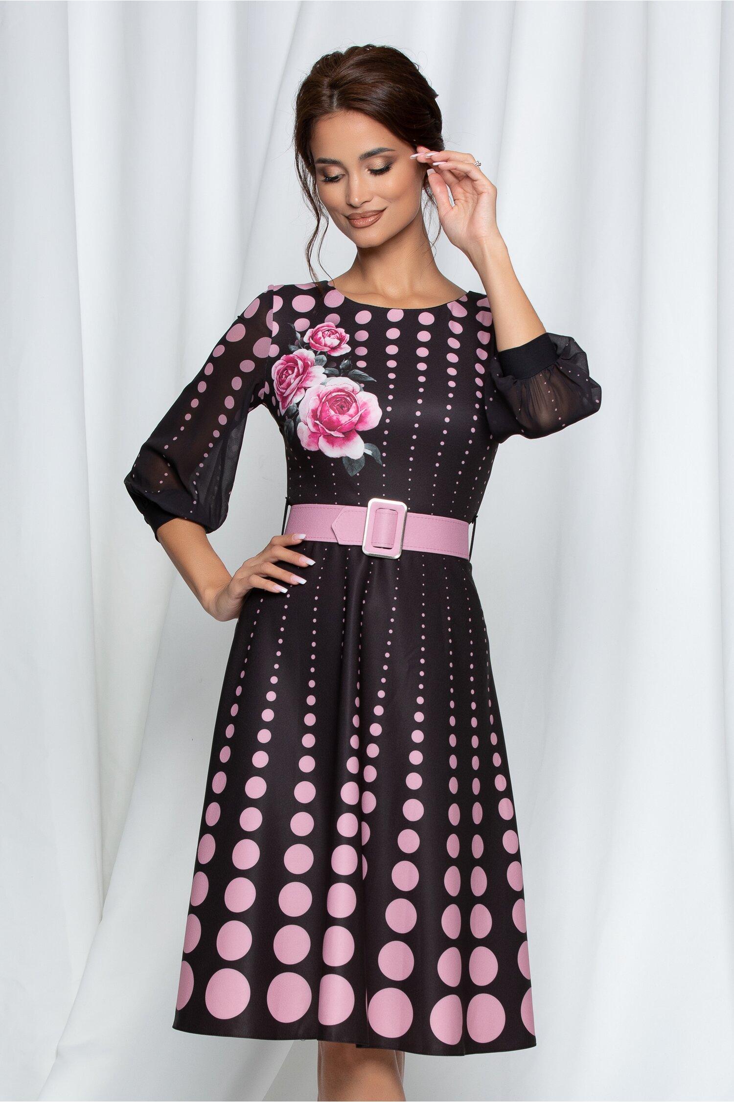Rochie Alexia neagra cu buline roz