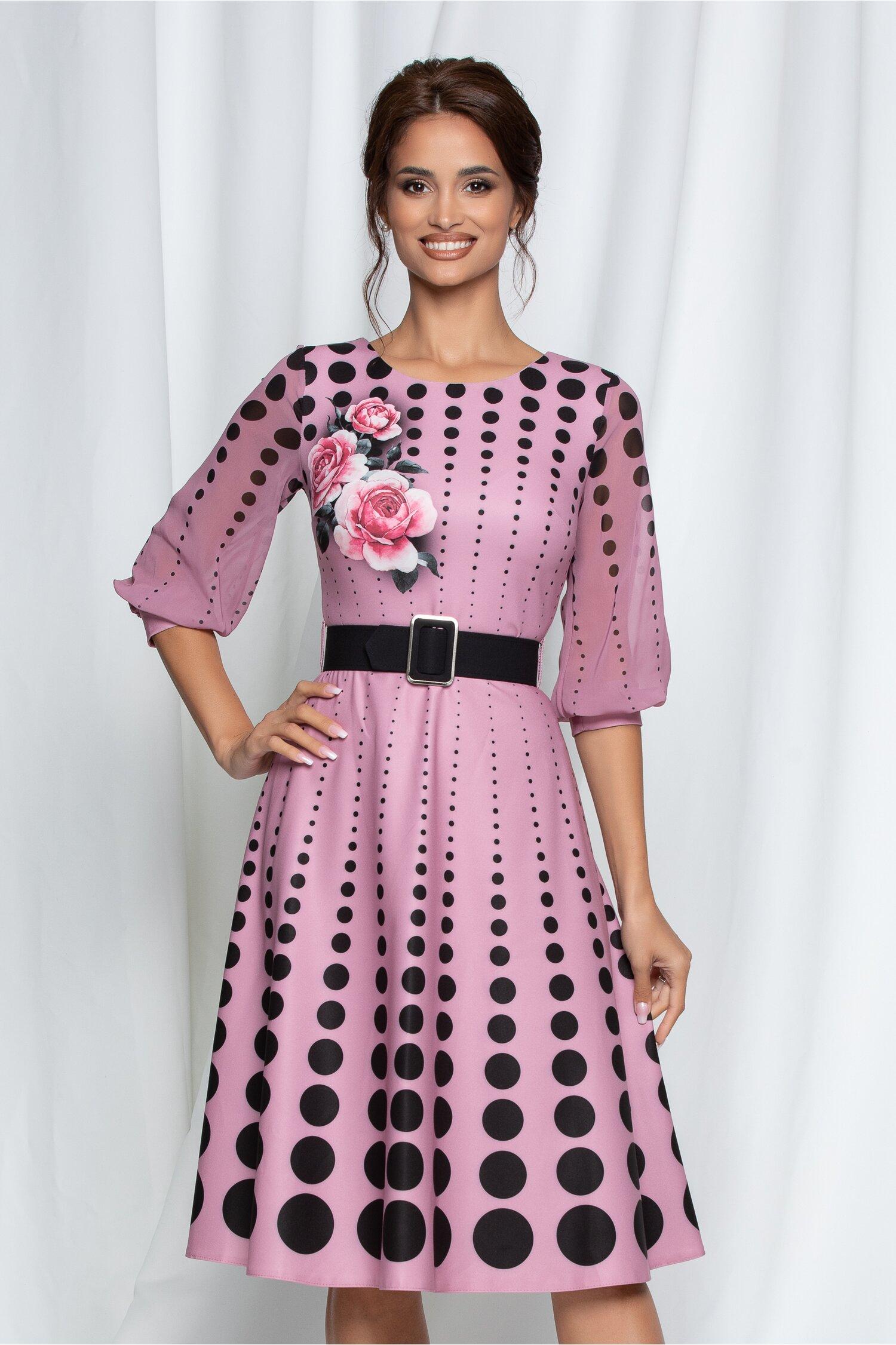 Rochie Alexia roz cu buline negre