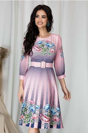 Rochie Alexia roz cu flori si picatele