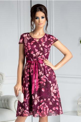 Rochie Alexia violet cu imprimeu floral si buline cu sclipici